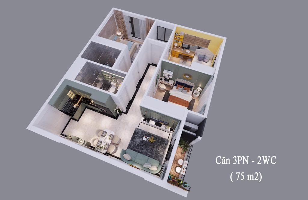 Phối cảnh căn hộ 3 phòng ngủ