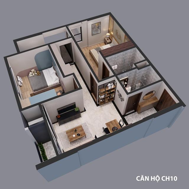 Phối cảnh căn hộ 2 phòng ngủ